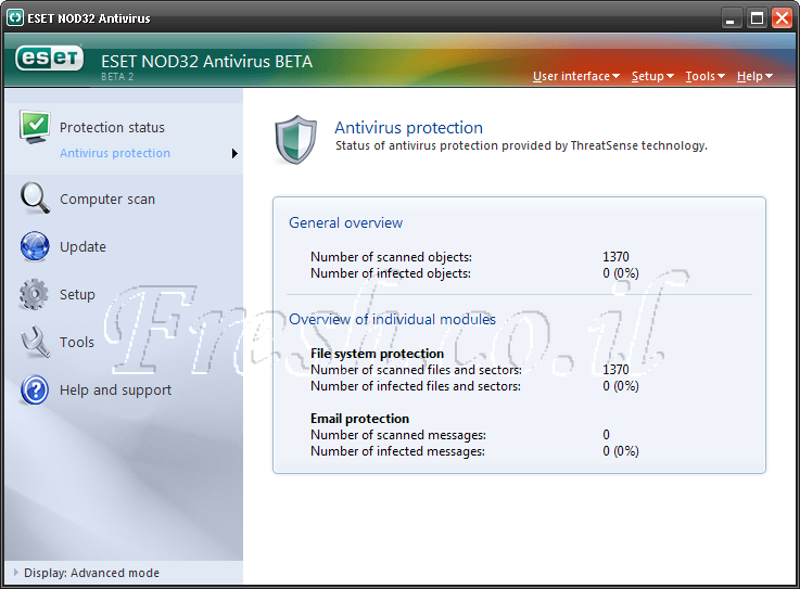 Скриншоты ESET NOD32 Antivirus 5.0.84.0 RC.
